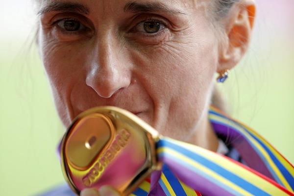 Christelle Duanay after winning the marathon at the 2014 European Athletics Championships (Getty Images)