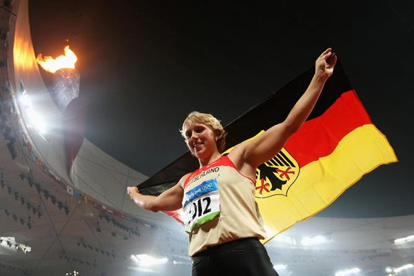 Germany's Christina Obergfoll celebrates her bronze medal in the Javelin at the 2008 Olympics (Getty Images)