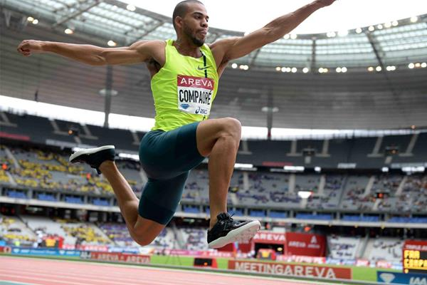 Benjamin Compaore, winner of the triple jump at the IAAF Diamond League meeting in Paris (Jiro Mochizuki)