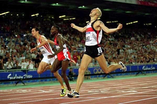 Djabir Said-Guerni of Algeria - (far left) takes the 2000 Olympic bronze behind Kipketer (c) and Schumann (r) (Getty Images)