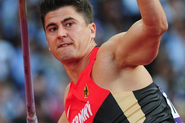 Tino Haber of Germany competes in the Men's Javelin Throw Qualifications on Day 12 of the London 2012 Olympic Games at Olympic Stadium on August 8, 2012 (Getty Images)