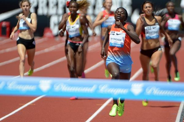 Francine Niyonsaba winning at the 2013 IAAF Diamond League in Eugene (Kirby Lee)