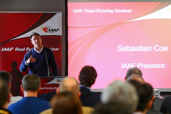 IAAF President Sebastian Coe at the IAAF Road Running Seminar in Cardiff (Getty Images)