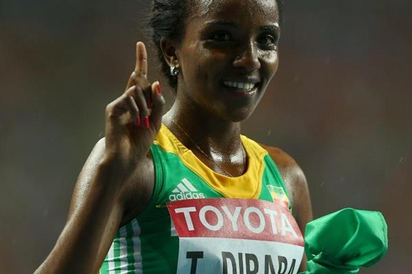 Tirunesh Dibaba in the womens 10,000m at the IAAF World Athletics Championships Moscow 2013 (Getty Images)