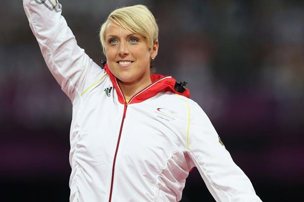 Christina Obergfoll on the podium at the 2012 Olympics, having won silver in the Javelin (Getty Images)