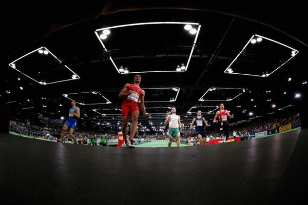 Ashton Eaton wins the heptathlon 60m at the IAAF World Indoor Championships Portland 2016 (Getty Images)