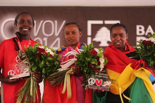 (l-r) Monica Jepkoech, Muluhabt Tsega and Saeda Kedir on the women's podium at the 2014 Banque du Liban Beirut Marathon (Organisers)