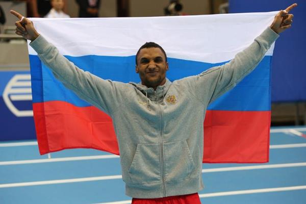 Triple jump winner Lyukman Adams at the 2014 IAAF World Indoor Championships in Sopot (Getty Images)