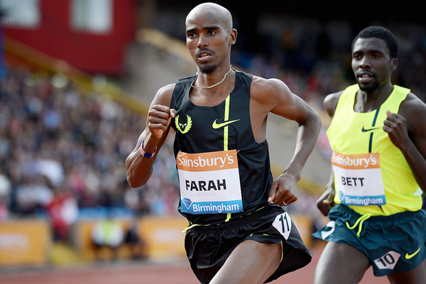 Mo Farah in action at the IAAF Diamond League meeting in Birmingham (Getty Images)