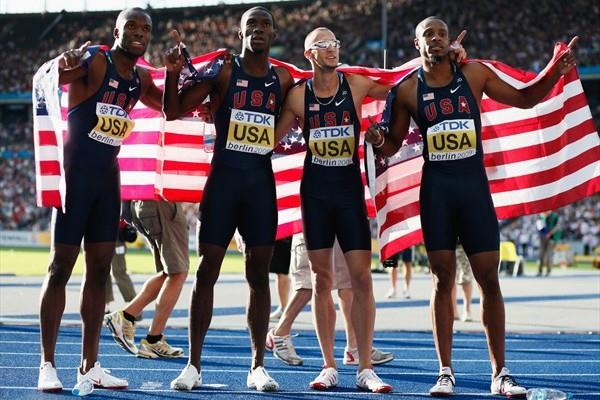 The winners of the men's 4x400m final (L-R) LaShawn Merritt, Angelo Taylor, Jeremy Wariner and Kerron Clement of the United States in Berlin (Getty Images)