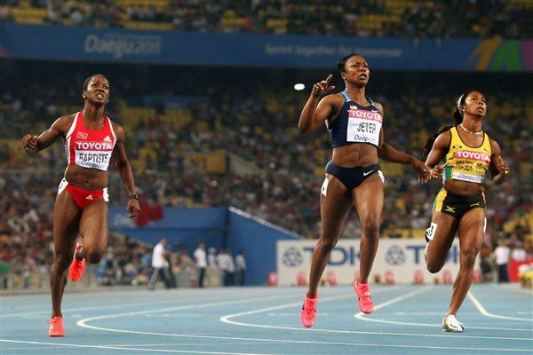 Carmelita Jeter of United States sprints to victory in the women's 100 metres final  (Getty Images)
