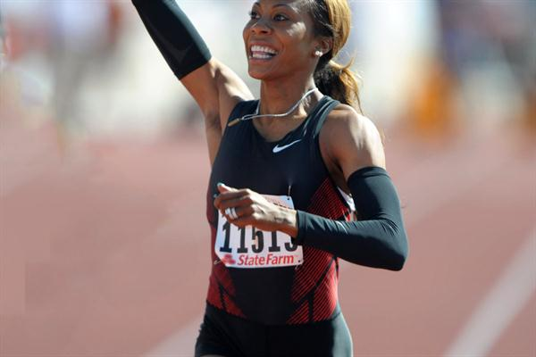Sanya Richards Ross after her wind-aided 10.89 dash in Austin (Kirby Lee)