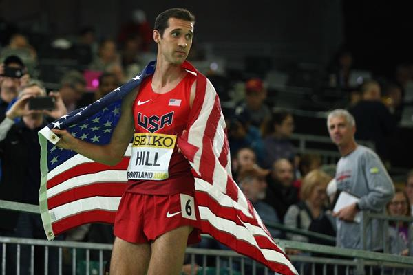Ryan Hill after winning the 3000m silver medal at the IAAF World Indoor Championships Portland 2016 (Getty Images)