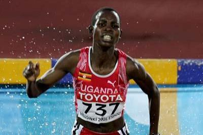 Dorcus Inzikuru of Uganda wins inaugural women's 3000m steeplechase at the 2005 IAAF World Championships (Getty Images)