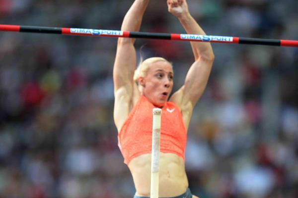 Nikoleta Kiriakopoulou at the 2015 IAAF Diamond League in Paris (Jiro Mochizuki)