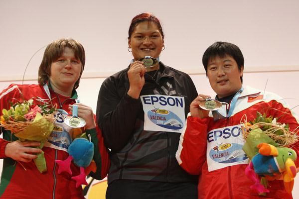 Women's shot medallists: Nadezhda Ostapchuk, Valerie Vili and Li Meiju (Getty Images)