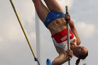 Valeriya Volik of Russia on her way to victory in the Final of the Women's Pole Vault (Getty Images)