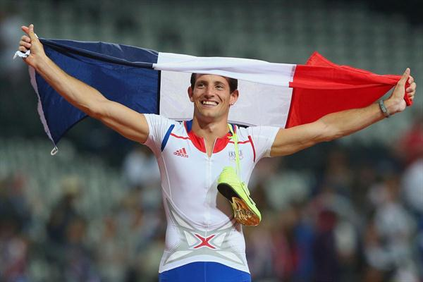 Renaud Lavillenie of France celebrates winning gold in the Men's Pole Vault Final on Day 14 of the London 2012 Olympic Games at Olympic Stadium on August 10, 2012 (Getty Images)