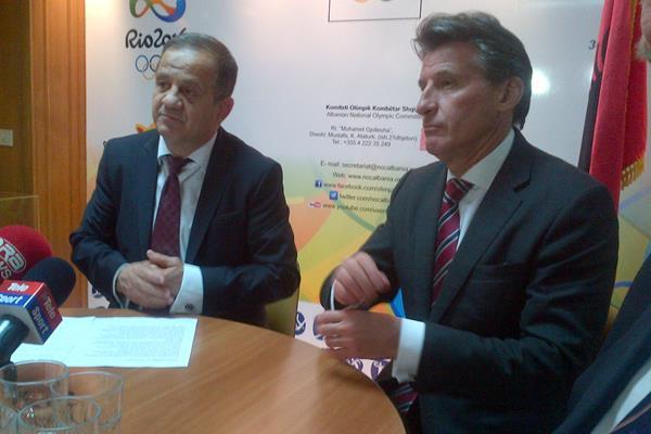 President of the Albanian National Olympic Committee Viron Bezhan and IAAF President Sebastian Coe (IAAF)