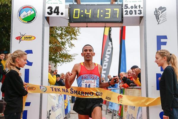 Yossief Tekle winning the 2013 International Smarna Gora Mountain Running Race (WMRA)