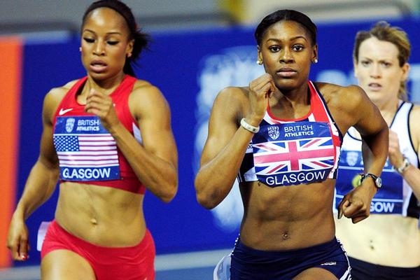 Natasha Hastings and Perri Shakes-Drayton in the 400m at Glasgow (Getty Images)