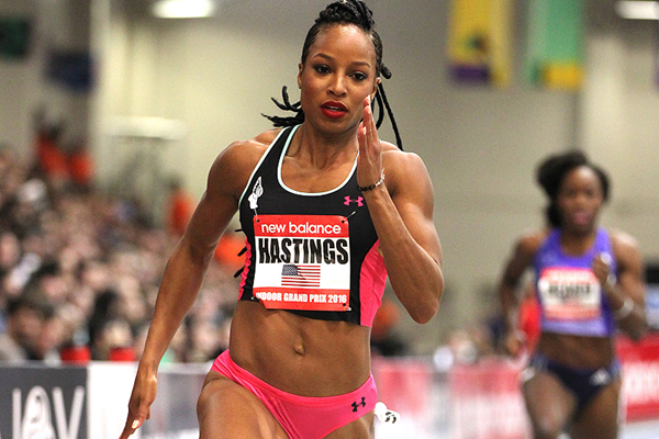 Natasha Hastings on her way to winning the 300m at the New Balance Indoor Grand Prix in Boston (Andrew McClanahan)