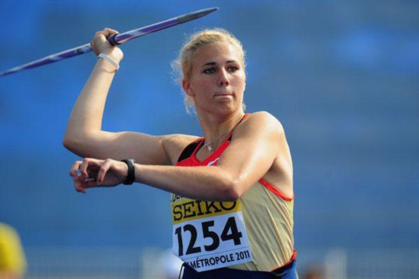 Christin HUSSONG (GER) during the Girls Javelin qualification during day one of the WYC Lille 2011 (Getty Images)