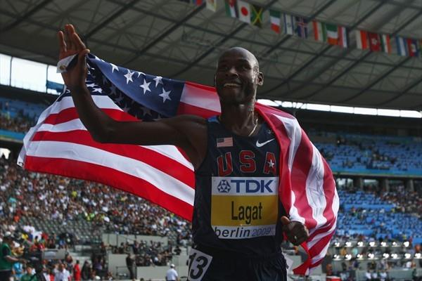 Bernard Lagat of the United States celebrates winning the silver medal in the men's 5000m final at the IAAF Wolrd Championships (Getty Images)