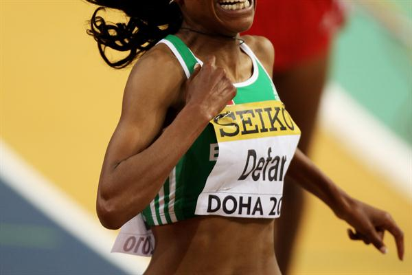 Meseret Defar of Ethiopia wins the 3000m final (Getty Images)