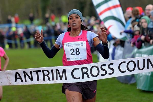 Bahrain's Mimi Belete winning at the 2014 Antrim IAAF International Cross Country  (Mark Shearman)