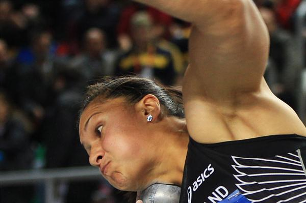 Valerie Adams of New Zealand competes in the Women's Shot Put Final during day two - WIC Istanbul (Getty Images)