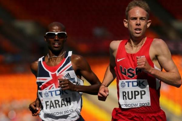 Galen Rupp and Mo Farah in the mens 5000m at the IAAF World Athletics Championships Moscow 2013 (Getty Images)