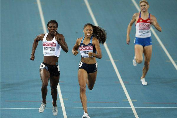 Amantle Montsho (L) of Botswana and Allyson Felix (C) of United States  and Anastasiya Kapachinskaya of Russia (R) fighting in the women's 400 metres final (Getty Images)