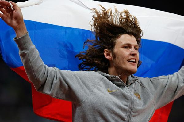 Russia's Ivan Ukhov celebrates winning High Jump gold at the 2012 London Olympics (Getty Images)
