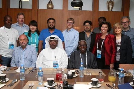 Doha 2014 media breakfast - Lamine Diack and Dahlan Al Hamad with media (Doha 2014 LOC)