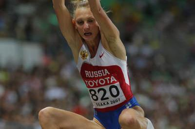 Tatyana Kotova of Russia takes silver in the women's Long Jump final (Getty Images)