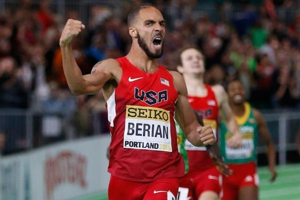 Boris Berian wins the 800m at the IAAF World Indoor Championships Portland 2016 (Getty Images)