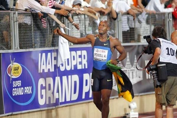 Asafa Powell after his 9.72 run in Lausanne (Olivier ALLENSPACH/Switzerland)