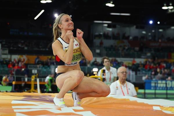 Brianne Theisen-Eaton in the pentathlon high jump at the IAAF World Indoor Championships Portland 2016 (Getty Images)