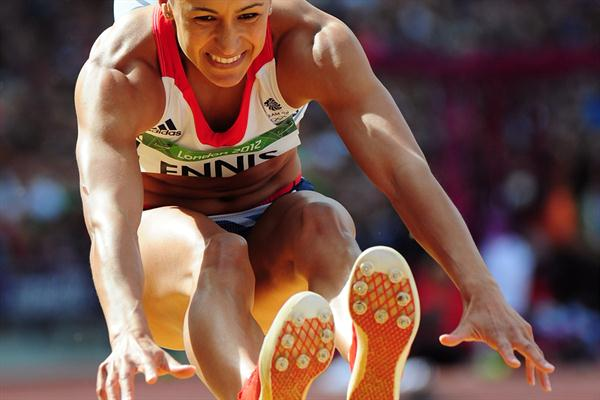 Jessica Ennis of Great Britain competes in the Women's Heptathlon Long Jump on Day 8 of the London 2012 Olympic Games at Olympic Stadium on August 4, 2012 (Getty Images)