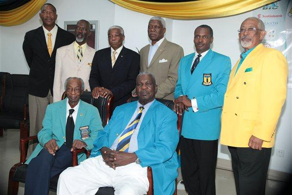 BAAA Presidents - Front, from left: Harold Munnings, Sir Arlington Butler. Back: Curt Hollingsworth, Alpheus Finlayson, Dr. Bernard Nottage, Mike Sands, Desmond Bannister, and Winston Cooper (Derek Smith)