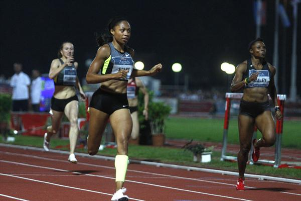 Allyson Felix en route to a Zagreb meeting record (Cropix)