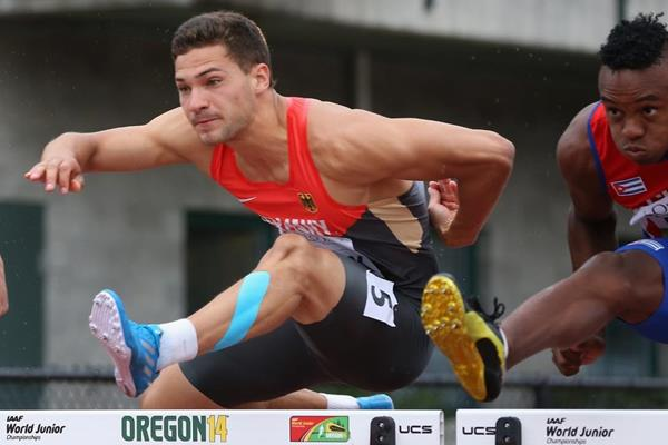 Tim Nowak in the decathlon 110m hurdles at the 2014 IAAF World Junior Championships in Eugene (Getty Images)