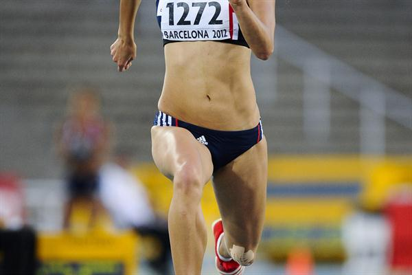 Katarina Johnson-Thompson of Great Britain competes for winning the gold medal of the Women's Long Jump Final on the day four of the 14th IAAF World Junior Championships in Barcelona on 13 July 2012 (Getty Images)