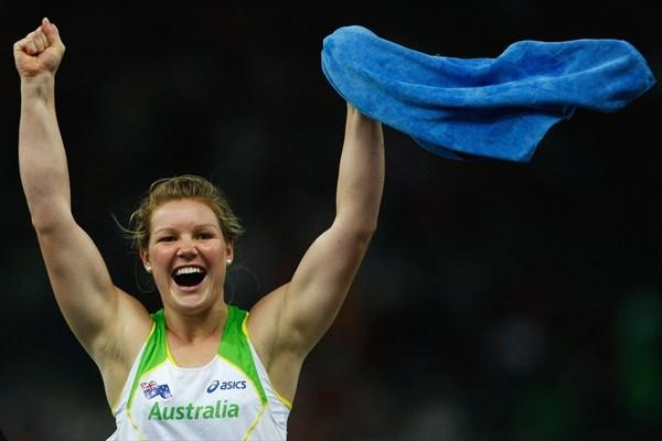 Dani Samuels of Australia looks thrilled to win the women's Discus at the 12th World Championships in Athletics in the Berlin Olympic Stadium (Getty Images)