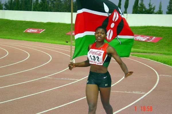 Lydia Wafula (Kenya) celebrates after her African Jnr 800m win in Tunis (Mark Ouma)
