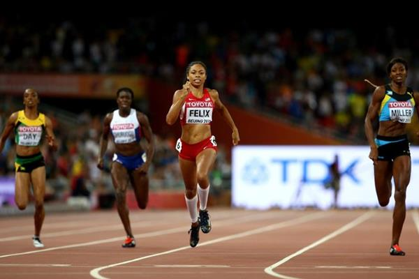 Allyson Felix wins the 400m at the IAAF World Championships, Beijing 2015 (Getty Images)