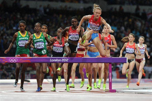 Yuliya Zaripova of Russia competes in the Women's 3000m Steeplechase final on Day 10 of the London 2012 Olympic Games at the Olympic Stadium on August 6, 2012 (Getty Images  )