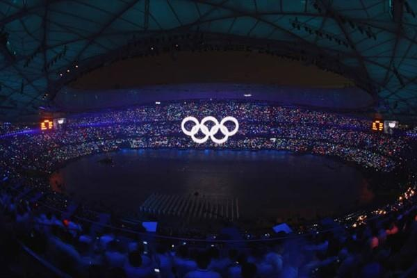 Olympic Rings rise from the stadium floor at the Beijing 2008 opening ceremony in the Bird's Nest (Getty Images)