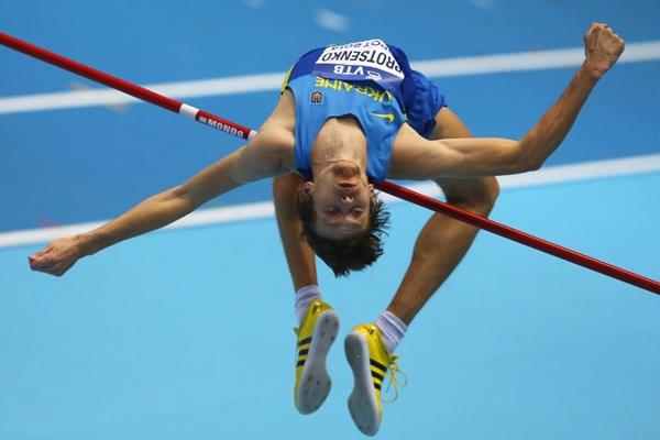 Andriy Protsenko in the high jump at the 2014 IAAF World Indoor Championships in Sopot (Getty Images)